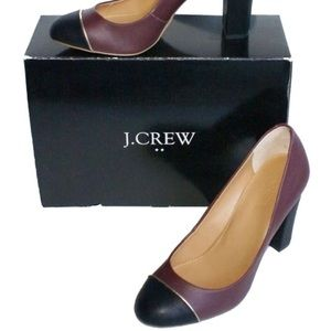 J. Crew   Olive Cap In Cabernet Wine Black heels